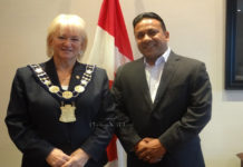 Canadian Premier League CEO Roy Singh with Brampton-Mayor