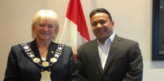 Canadian Premier League CEO Roy Singh with Brampton-Mayor