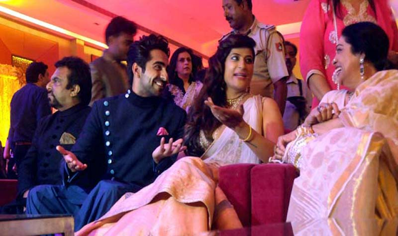 Actress Kirron Kher, who is also the Chandigarh MP, attends Ayushmann's brother's wedding.