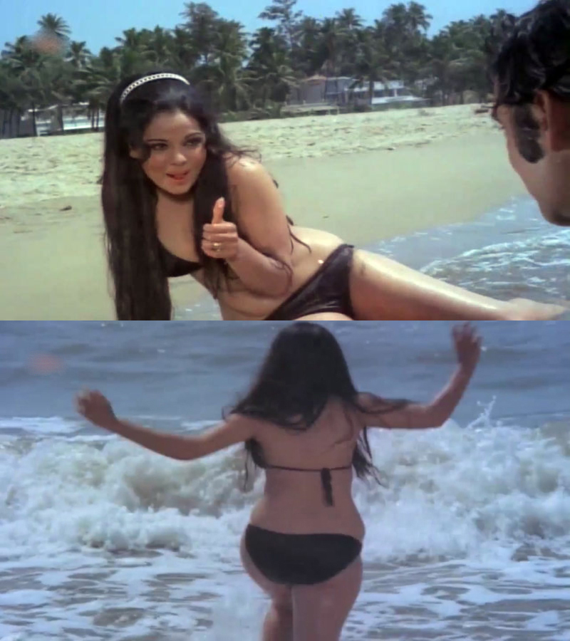 Mumtaz wearing bikini in Apradh film