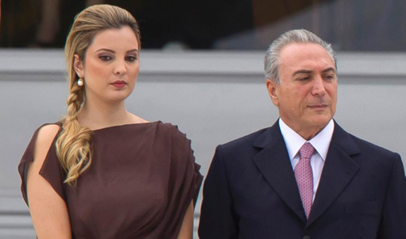 Brazil First Lady Marcela Tedeschi with her husband.