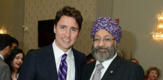 Surjit Babra with Trudeau