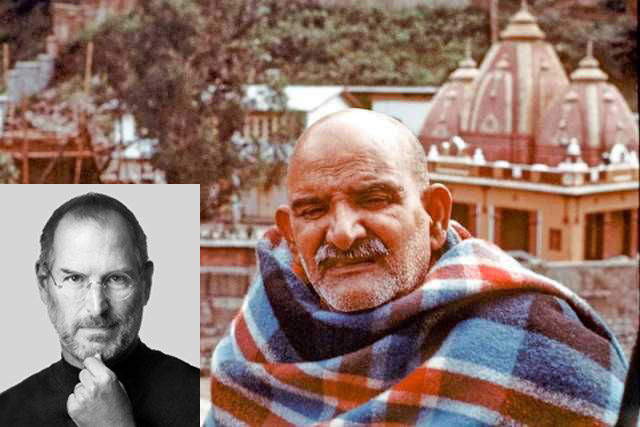 Steve Jobs (inset) and Karoli Neem Baba