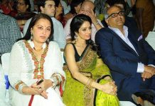 Jaya Prada (extreme left) with Sridevi and her husband Boney Kapoor.