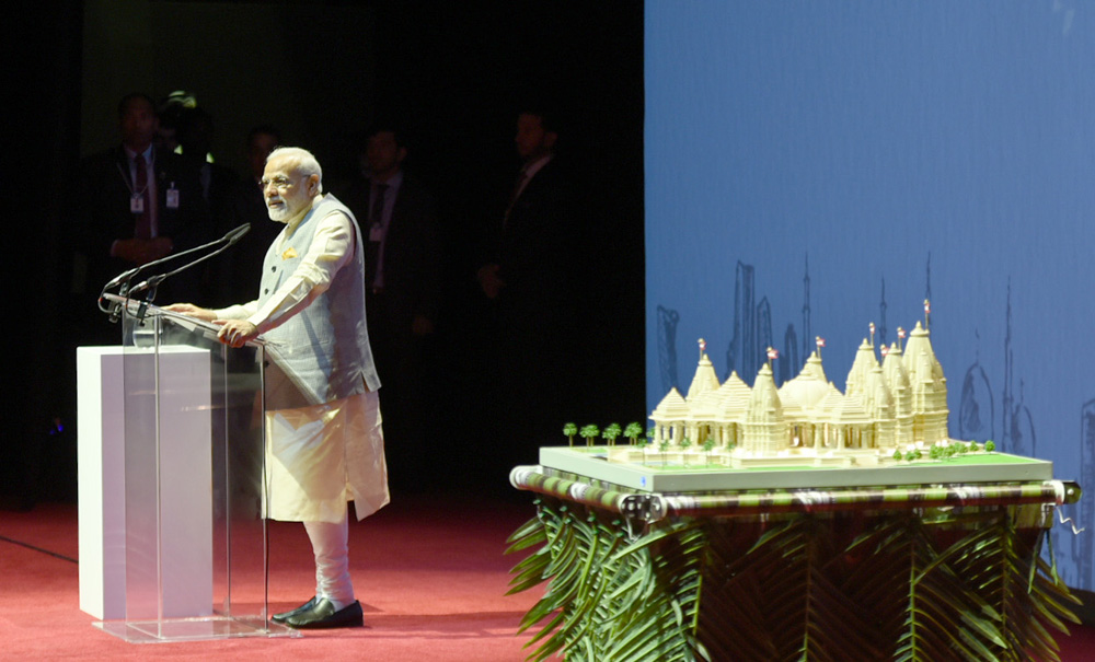 Modi at groundbreaking ceremony of BAPS temple in Abu Dhabi