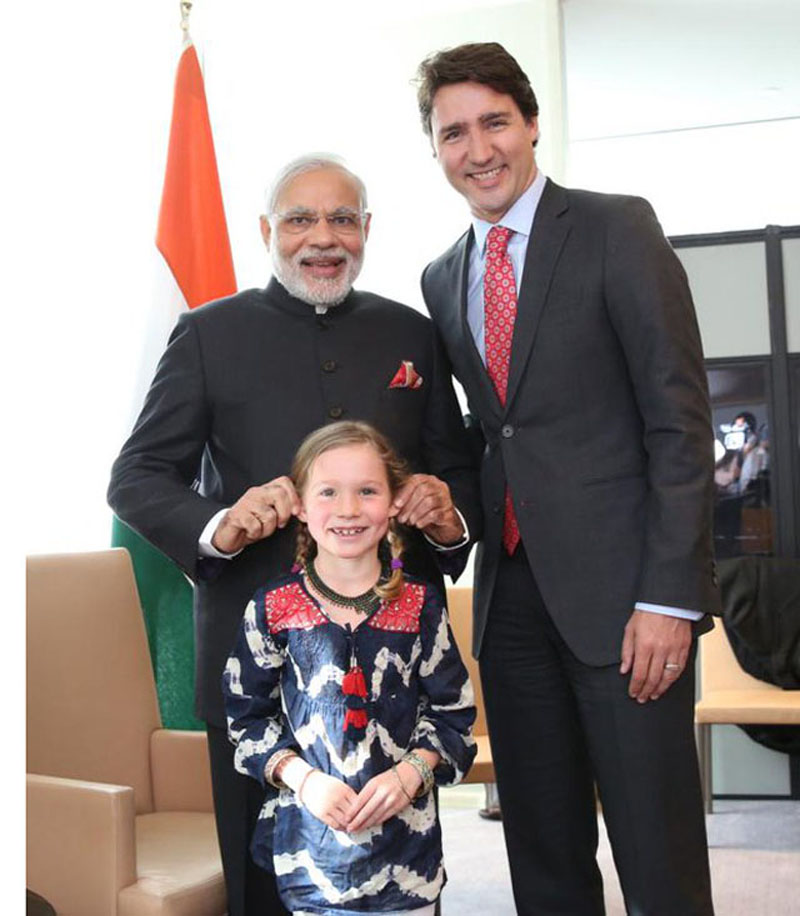 Modi playing with Trudeau's daughter Ella