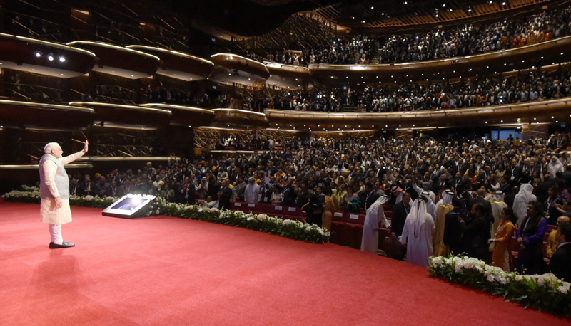 Prime Minister Modi addressing Indian community at Dubai Opera House in Abu Dhabi