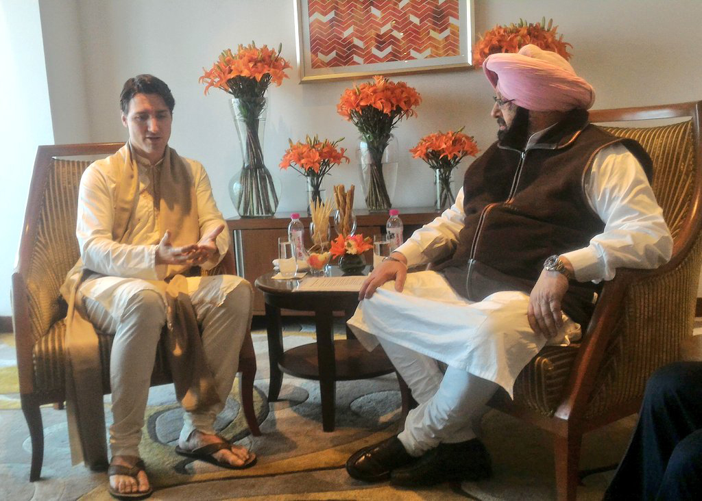 Trudeau with Punjab chief minister Amarinder Singh