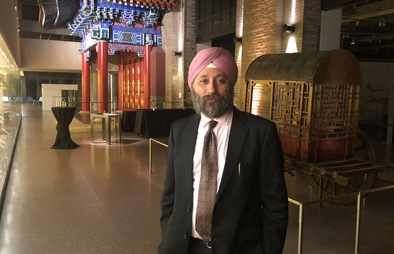 Singapore-based Amardeep Singh who has been honoured by Sikh Foundation of Canada in Toronto for his work on Sikh heritage in Pakistan.