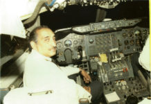 Captain Narendra Singh Hanse, pilot of Air India Flight 182, seen in the cockpit of a plane