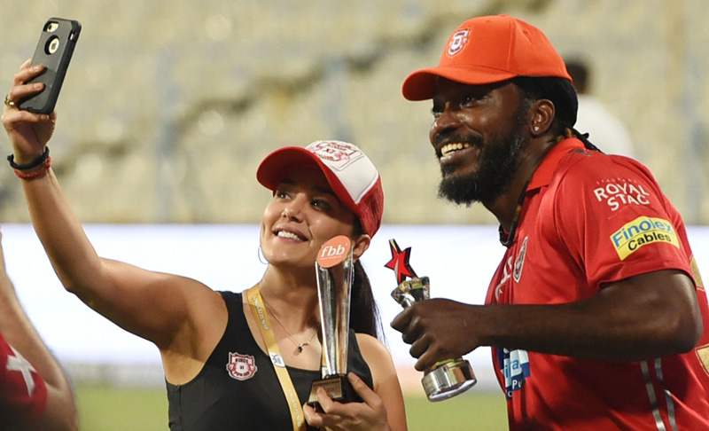 Actress Preity Zinta with Chris Gayle