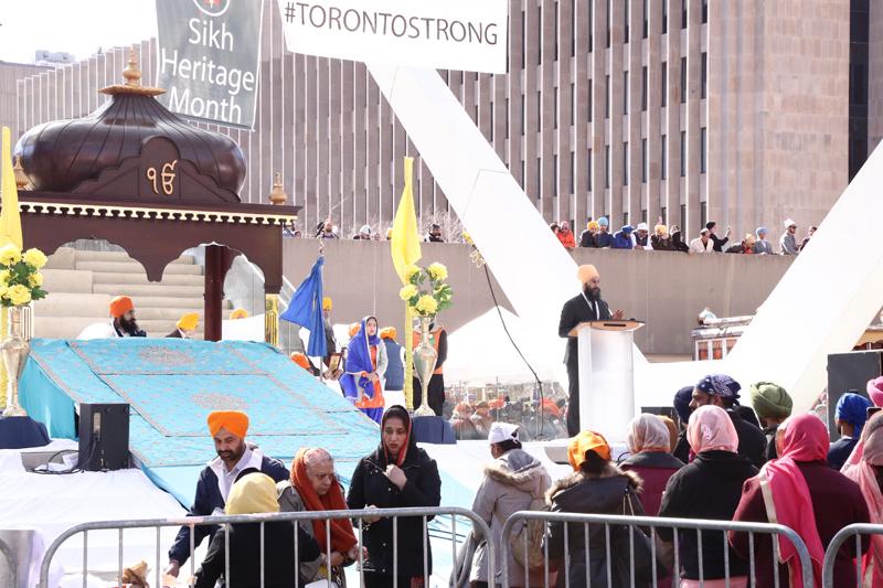 NDP leader Jagmeet Singh speaking at Vaisakhi parade in Toronto