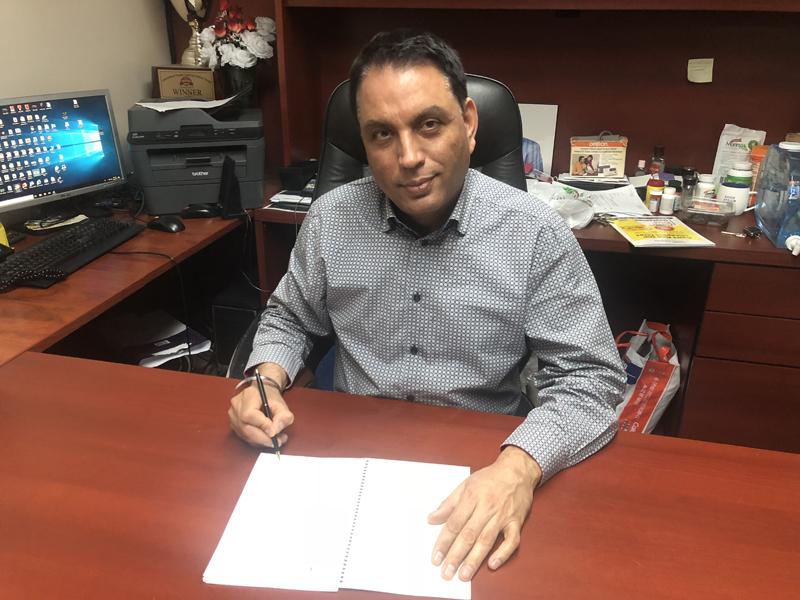 Mejor S Natt in his office