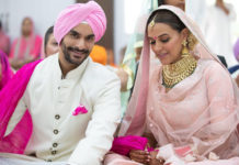 Neha Dhupia and Angad Bedi at their wedding