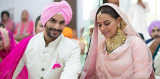 Neha Dhupia and Angad Bedi at their wedding