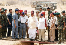 Prime Minister Atal Behari Vajpayee at Pokhran nuclear site. To his right is Dr APJ Abdul Kalam