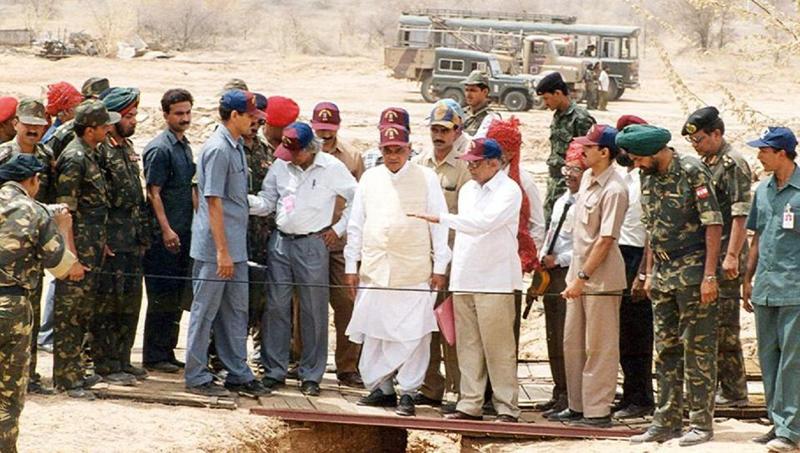 Prime Minister Atal Behari Vajpayee at Pokhran nuclear site. To his right is Dr APJ Abdul Kalam
