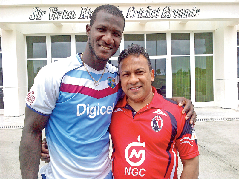 Roy Singh with former West Indies captain Darren Sammy