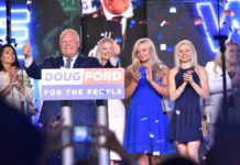 Doug Ford with his family after victory speech