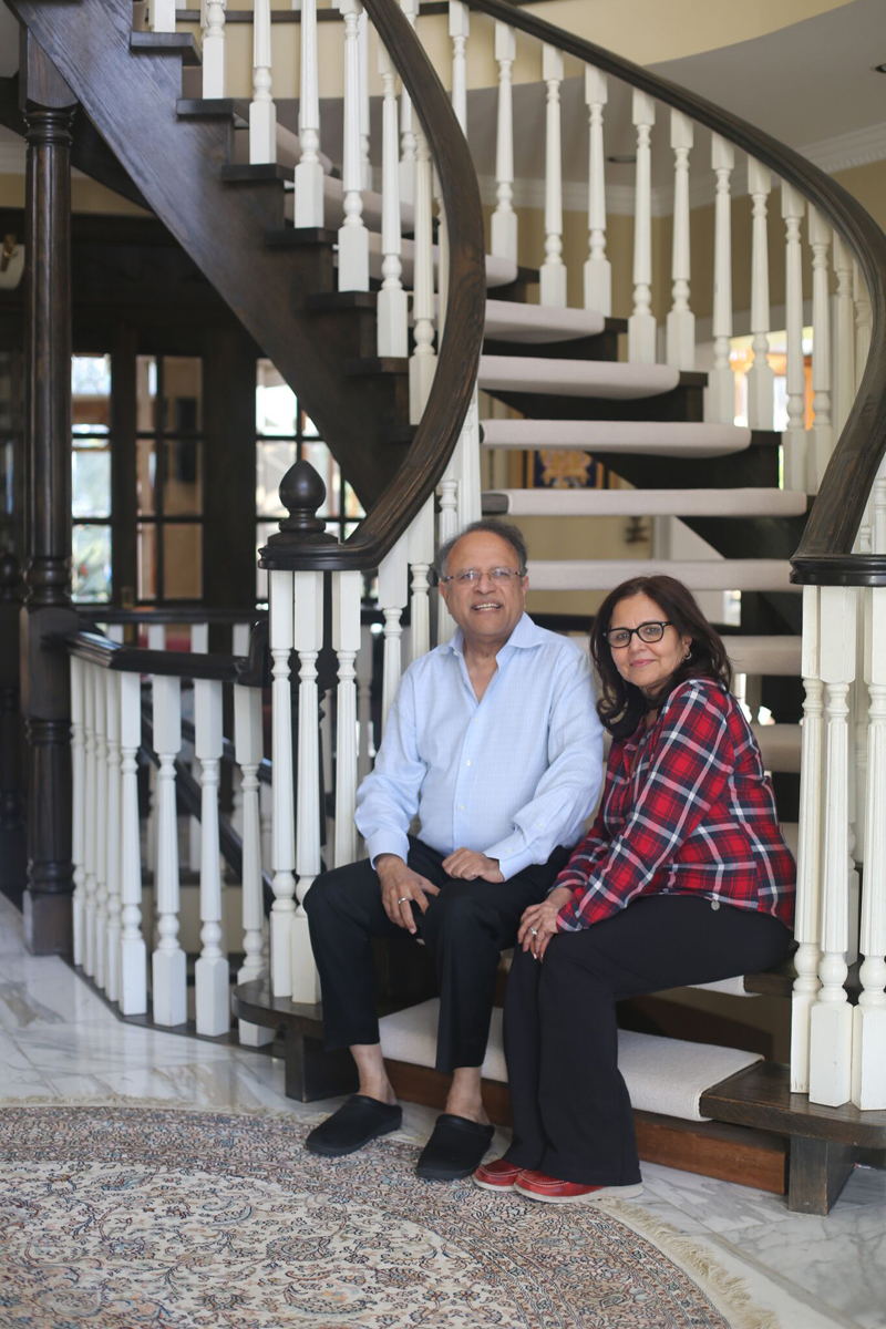 Dr terry Papneja and wife Nimmi at home.
