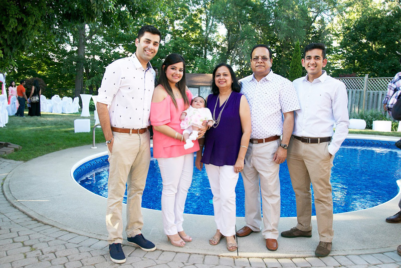 With their newly born granddaughter Myra Gupta. (Lto R): Devesh Gupta, Shivani Gupta, Myra Gupta, Poonam Sharma, Kuldeep Sharma, and Sameer Sharma.