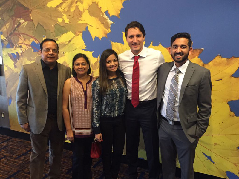 Kuldeep Sharma and family with Prime Minister Justin Trudeau