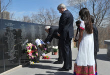Visiting Indian Prime Minister Narendra Modi paying tributes at Air India memorial in Toronto, along with then Canadian prime minister Stephen Harper