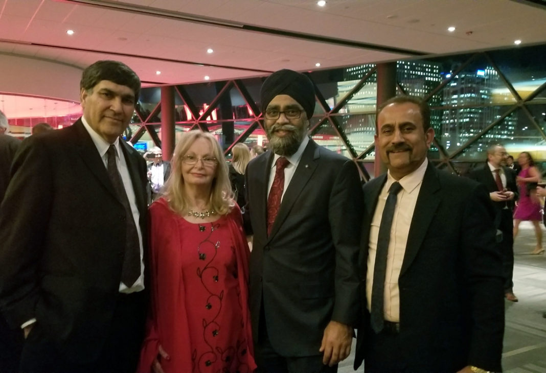 Subhash Khanna (extreme left) seen with Canadian defence minister Harjit Sajjan