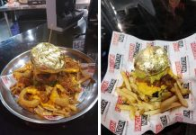(Left) The 24-karat gold-foil wrapped whopper burger sells for $100. (Right) The $24.95 priced 24-karat gold-foil-wrapped burger.