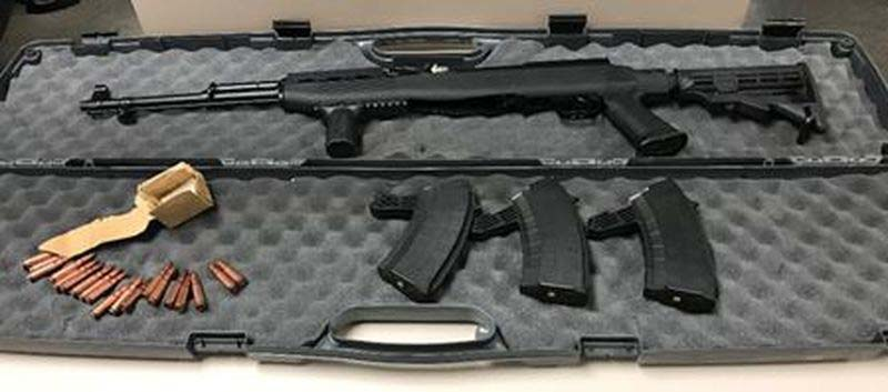 Semi-automatic rifle seized by Toronto Police from Jaspal Bhatti and Sujan Balasubramaniam.