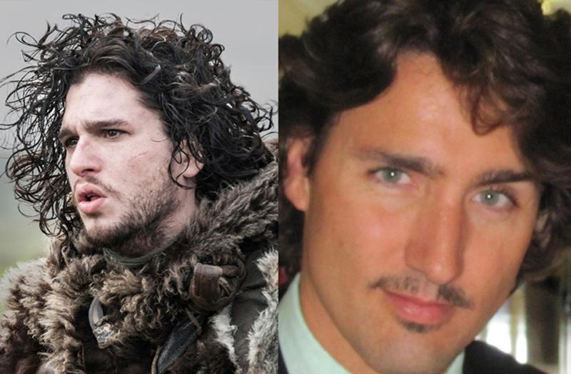 Justin Trudeau lookalike Jon Snow.
