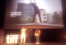 Vasan Bala and Radhika Madan accepting TIFF award