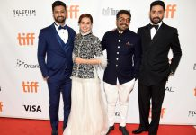 "Vicky Kaushal, Tapsee Pannu, Anurag Kashyap and Abhishek Bachchan at the premiere of ""Husband Material"" at Toronto International Film Festival at Roy Thomson Hall on September 11. Photo by Kevin Winter/Getty Images for TIFF."