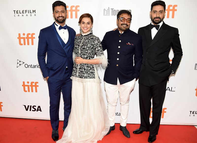 Vicky Kaushal, Tapsee Pannu, Anurag Kashyap and Abhishek Bachchan at the premiere of