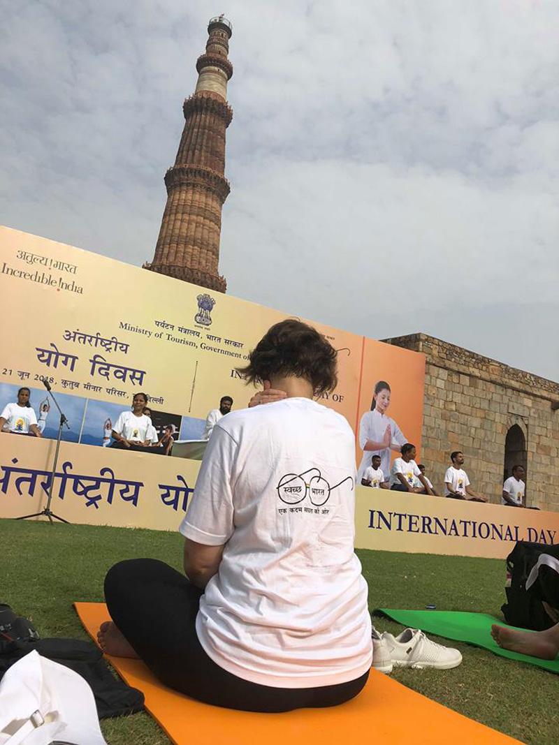 Shannon Skinner at International Day of Yoga in New Delhi