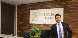 Devesh Gupta in his Prudent Law office in Mississauga.