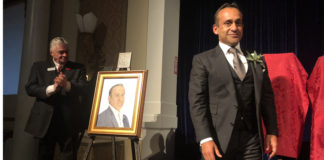 Peter Dhillon (right) during his induction into Canadian Agriculture Hall of Fame in Toronto