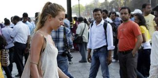 Foreign women tourists in India face stares from men.