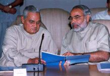 Modi (right) seen with Atal Behari Vajpayee