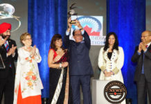 Zee TV founder Subhash Chandra with Global Indian Award in Toronto.