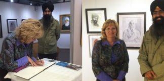 Brampton mayor Linda Jeffrey at Kulwant Singh's exhibition.