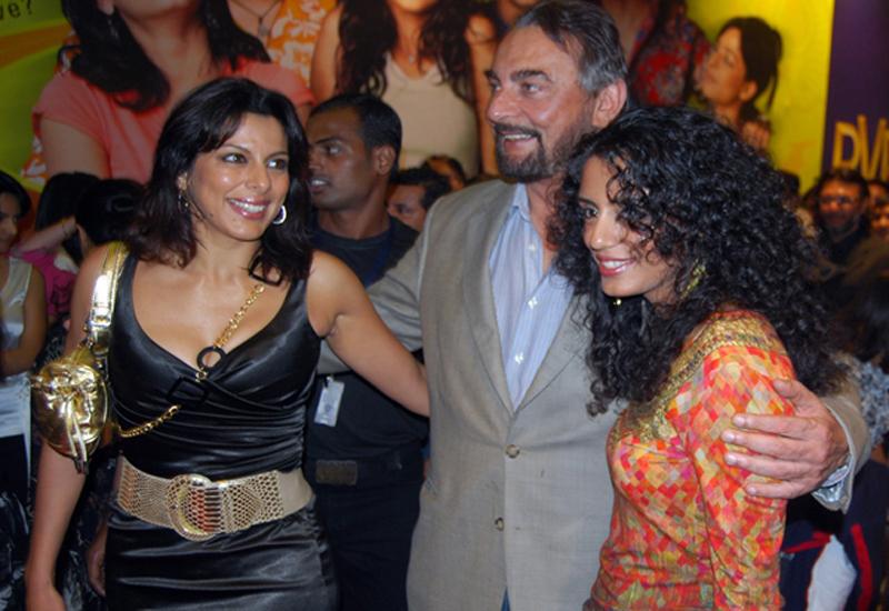 Pooja Bedi seen with her dad Kabir Bedi and his partner Parveen Dusanj.